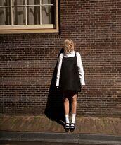 shoes,black shoes,socks,black dress,mini dress,white shirt
