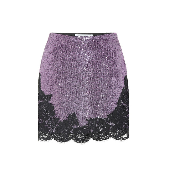 Philosophy Di Lorenzo Serafini Lace-trimmed sequined miniskirt in purple