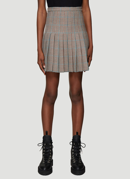 Off-White Houndstooth Pleated Mini Skirt in Brown size IT - 40