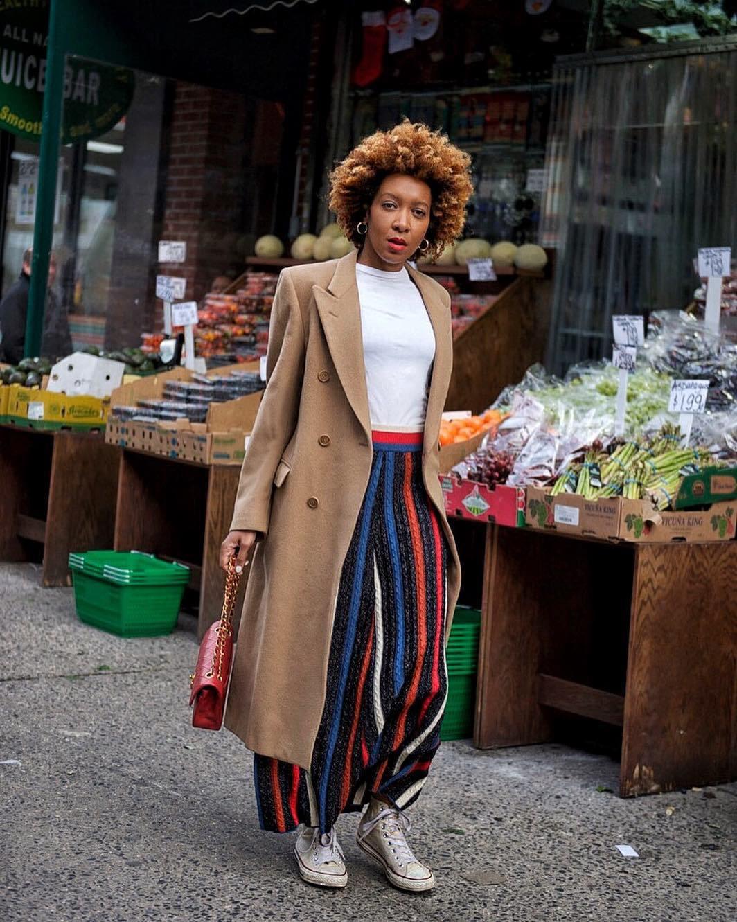 skirt striped skirt midi skirt sneakers converse long coat double breasted beige coat bag white t-shirt