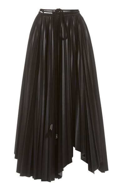 Nanushka Beeja Pleated Faux Leather Maxi Skirt in black