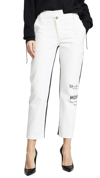 Monse Half and Half Jeans in black / white