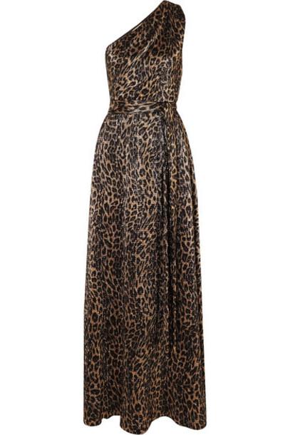 Melissa Odabash - Brinkley One-shoulder Metallic Leopard-print Crepe Maxi Dress - Gold