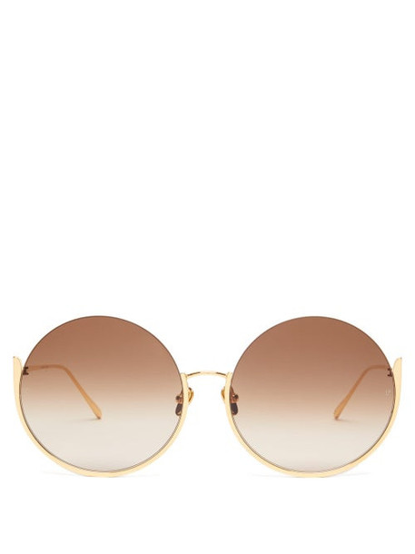 Linda Farrow - Olivia Round Gold Plated Sunglasses - Womens - Brown Gold