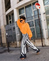 pants,wide-leg pants,black and white,striped pants,high waisted pants,flat sandals,sweater,cable knit