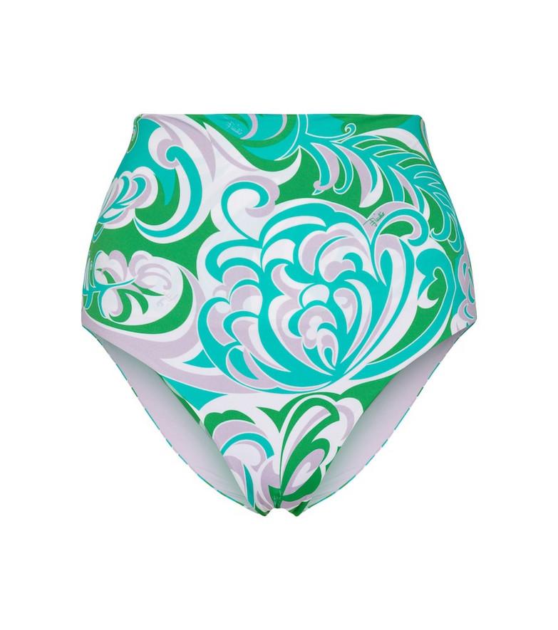 Emilio Pucci Beach High-rise printed bikini bottoms in green