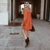 dress,mini dress,orange dress,long sleeve dress,black boots,brown bag,louis vuitton bag