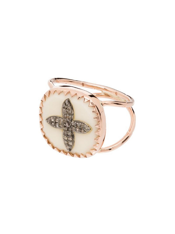 Pascale Monvoisin 9kt rose gold Bowie No 2 diamond cross ring