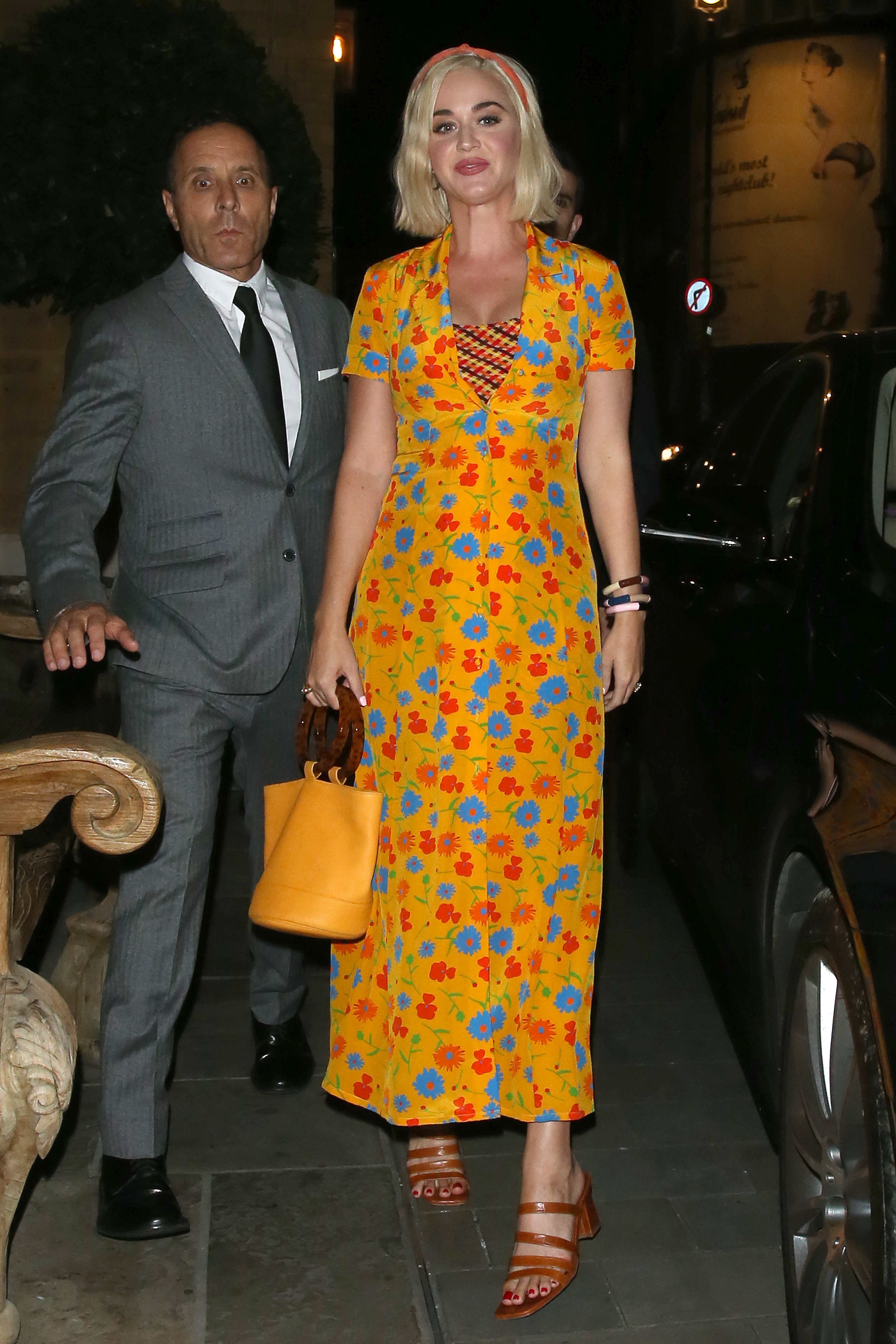 dress floral floral dress katy perry celebrity orange orange dress sandals