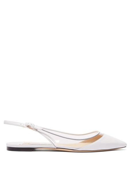 Jimmy Choo - Erin Leather And Pvc Slingback Flats - Womens - White