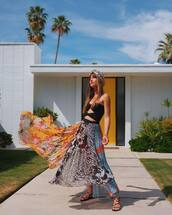 skirt,pleated skirt,asymmetrical skirt,maxi skirt,crop tops,turban,rocky barnes,instagram,top,festival,blogger,blogger style,coachella,coachella outfit,asymmetrical,midi skirt