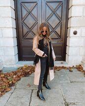 jeans,black skinny jeans,black boots,long coat,scarf,black turtleneck top