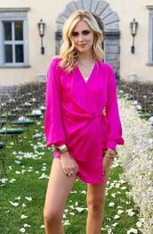 dress,mini dress,pink,pink dress,chiara ferragni,blogger