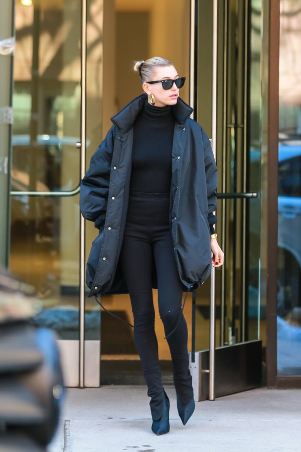 jacket hailey baldwin model off-duty all black everything celebrity boots