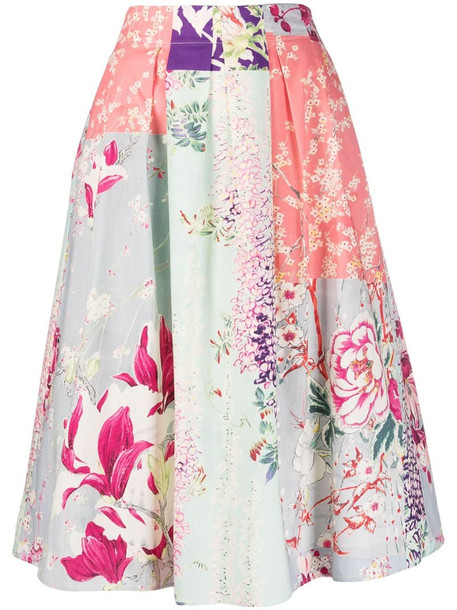Etro full shape floral print skirt in pink