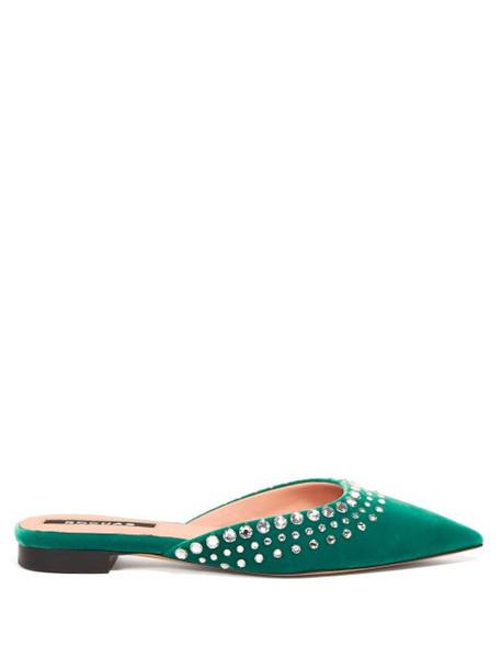 Rochas - Crystal Embellished Velvet Mules - Womens - Green