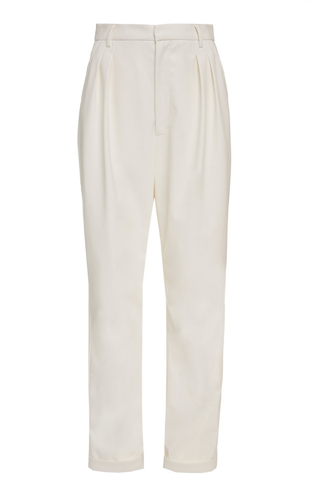 Sally LaPointe Pleated Faux Leather Tapered Pants in white