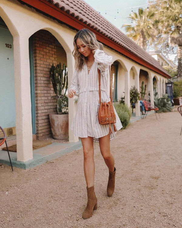 dress white dress long sleeve dress ankle boots brown bag