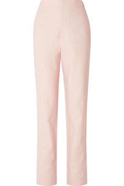 Tibi - Sebastian Twill Straight-leg Pants - Pastel pink