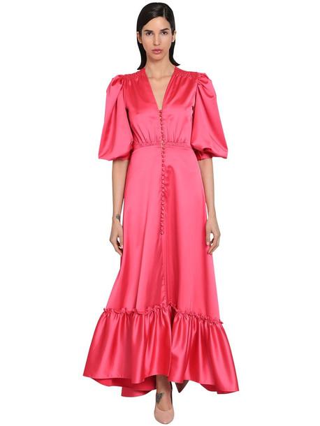 LUISA BECCARIA Long Stretch Ruffled Satin Dress in pink