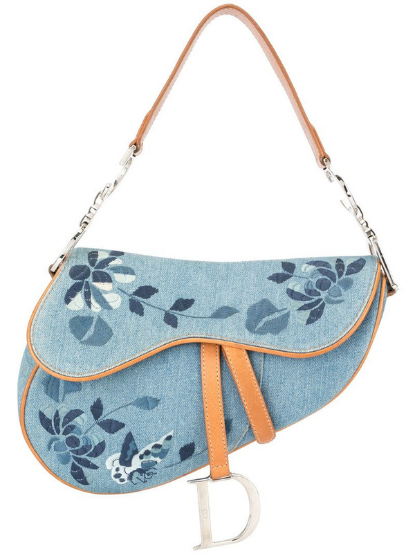 Christian Dior pre-owned embroidered Saddle bag in blue