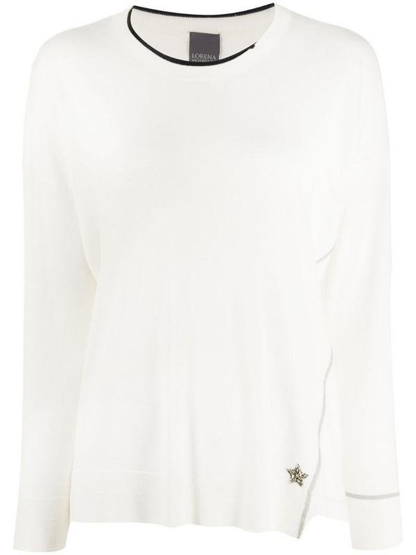 Lorena Antoniazzi star embroidered distressed jumper in white