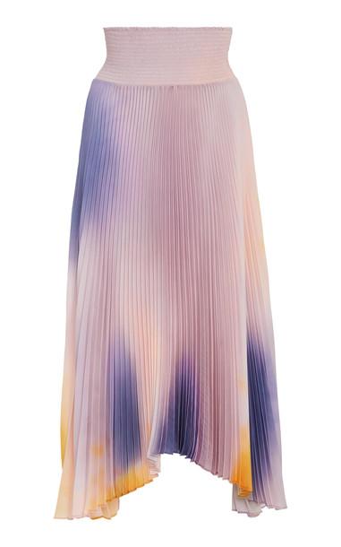 A.L.C. A.L.C. Sonali Smocked Tie-Dye Plissé Midi Skirt in multi