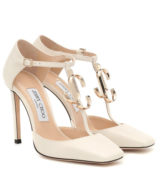 Jimmy Choo Lexica 100 leather pumps in white