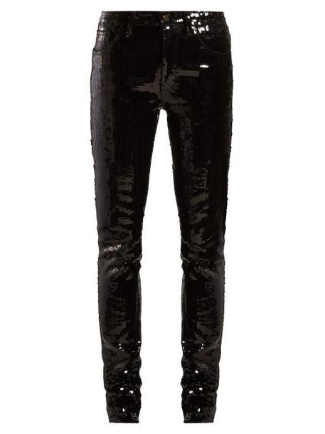 Saint Laurent - Sequinned Slim Fit Cotton Blend Trousers - Womens - Black