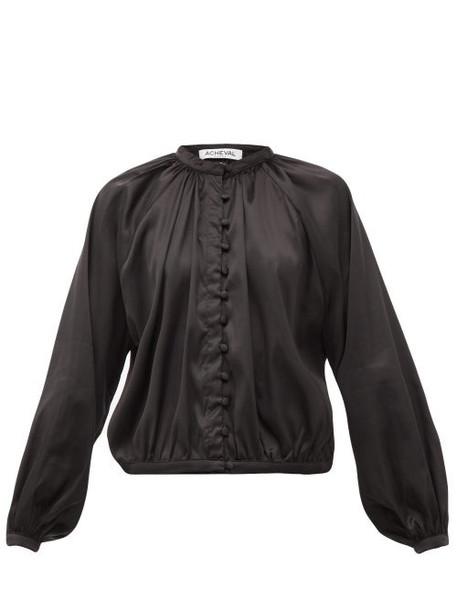 Àcheval Pampa Àcheval Pampa - Gloria Silk-blend Satin Blouse - Womens - Black