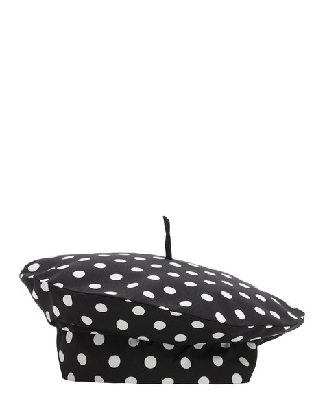 MARIANNA SENCHINA Printed Canvas Beret in black / white