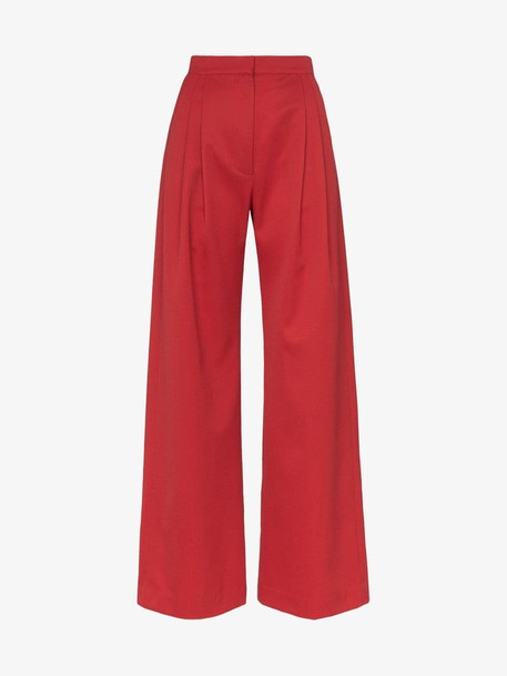 HOUSE OF HOLLAND X THE WOOLMARK COMPANY high-waisted wide leg trousers in red