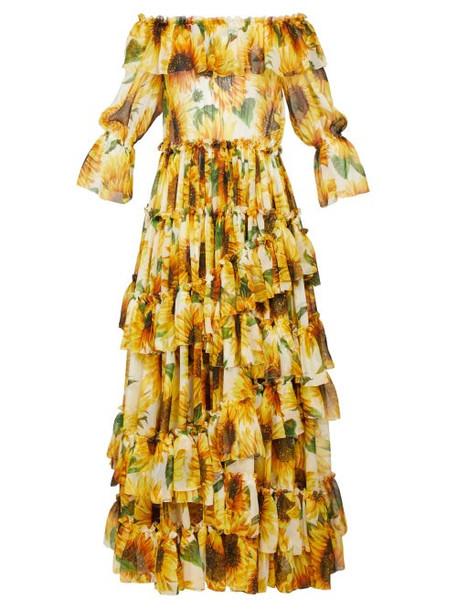 Dolce & Gabbana - Sunflower Print Ruffle Tiered Chiffon Gown - Womens - Yellow Multi