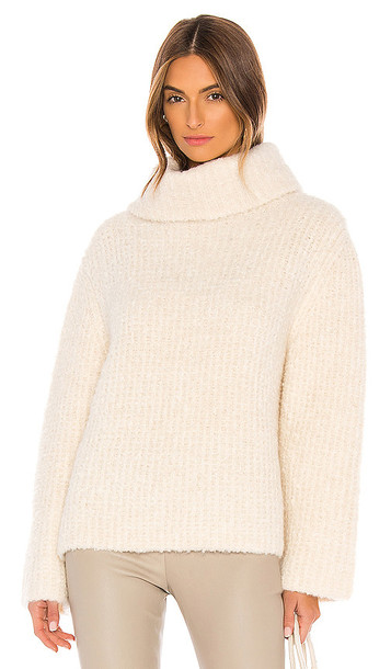 Theory Fold Over Neck Sweater in Ivory