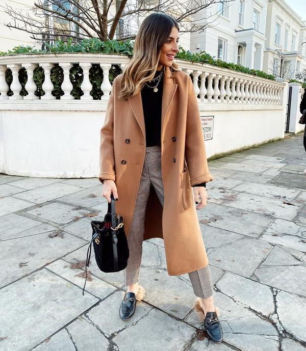 coat long coat mules plaid high waisted pants black bag black top