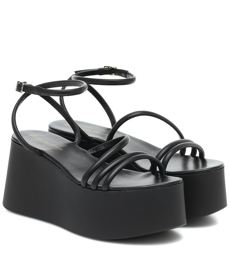 Gianvito Rossi Bekah leather platform sandals in black