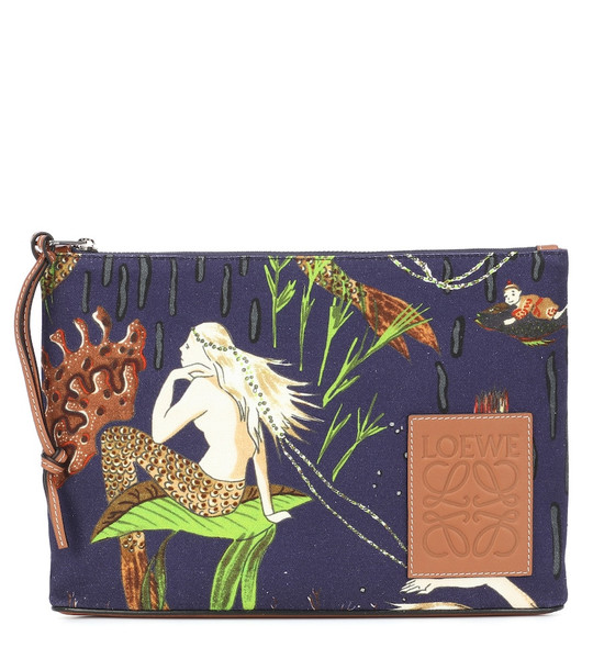 Loewe Paula's Ibiza printed canvas clutch in blue