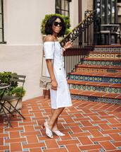 dress,white dress,midi dress,white shoes,asos,off the shoulder,mules,gucci bag