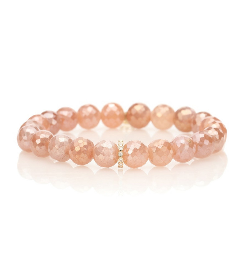 Sydney Evan 14kt gold and moonstone beaded bracelet with diamonds in pink