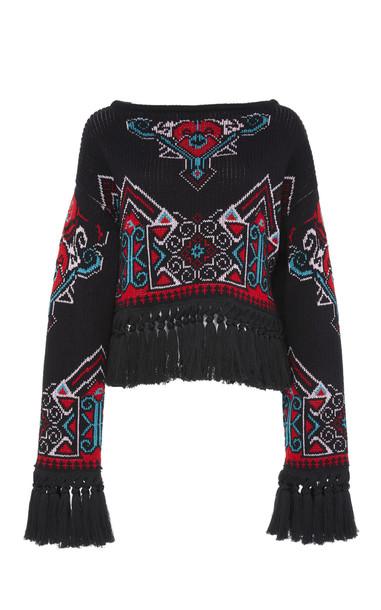 Philosophy di Lorenzo Serafini Cotton Blend Knit Pullover in black