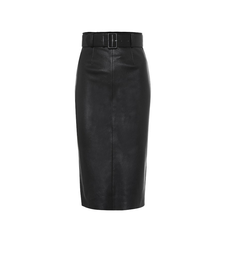 Stouls Megan leather midi skirt in black