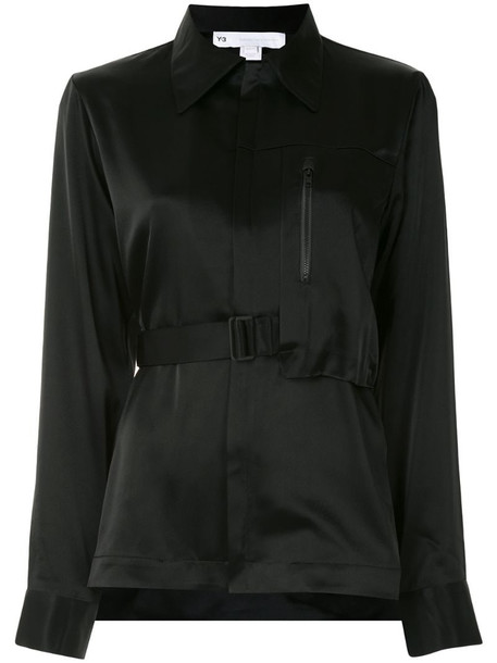 Y-3 asymmetric belted satin shirt in black