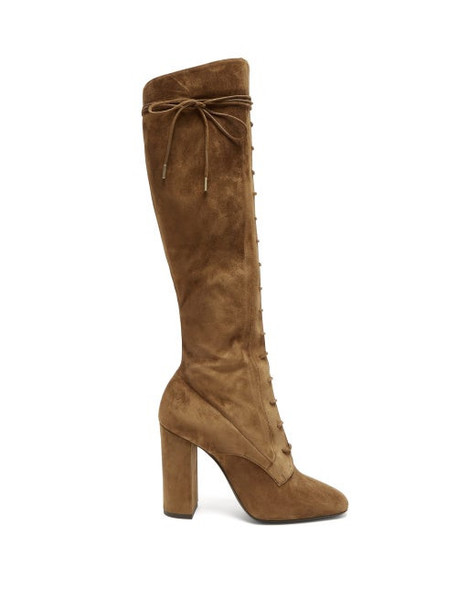 Saint Laurent - Laura Lace-up Knee-high Boots - Womens - Tan