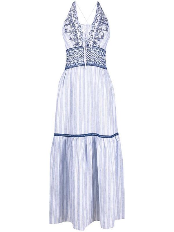 Ermanno Scervino embroidered striped dress in blue