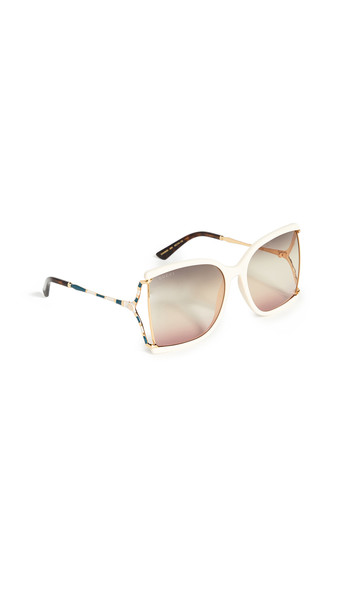Gucci Feminine Fork Square Sunglasses in gray / ivory / pink / yellow
