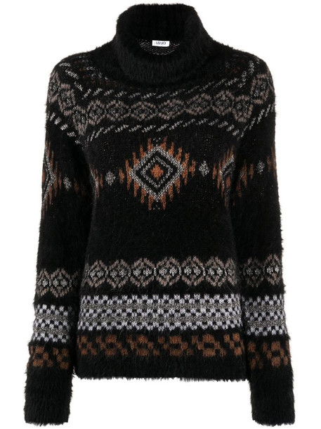 LIU JO geometric roll-neck jumper in black
