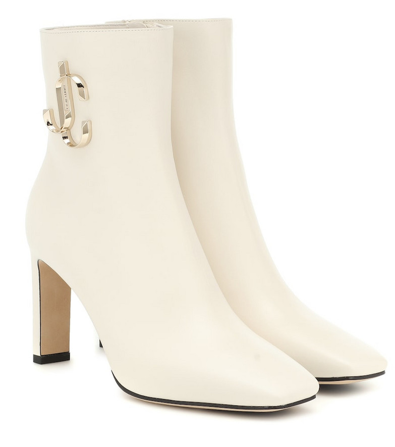 Jimmy Choo Minori 85 leather ankle boots in white
