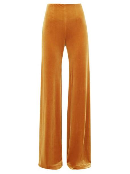 Galvan - Winter Sun Velvet Palazzo Trousers - Womens - Dark Yellow