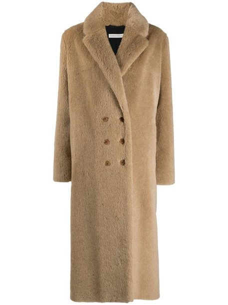 Inès & Maréchal brown double-breasted wool coat