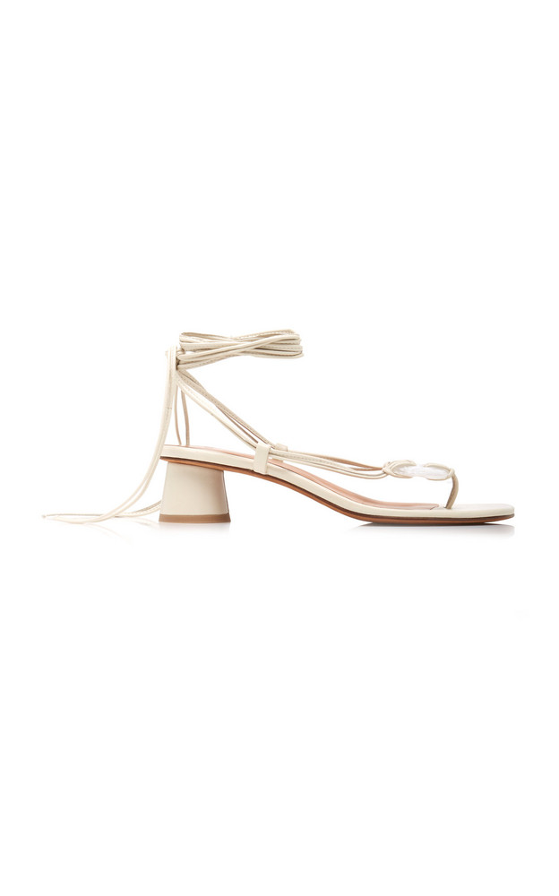 LoQ Cala Leather Lace-Up Sandals in white